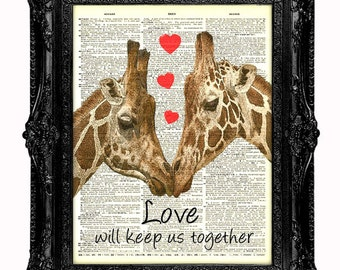 Giraffe Dictionary Art Print-Giraffe's In Love.*Plus we can add your personal message to the art if you wish. GIRAFFE with hearts romantic.