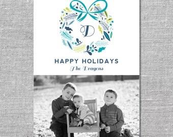 Photo Holiday Card   DIY Printable or Printed   Happy Holidays   5x7