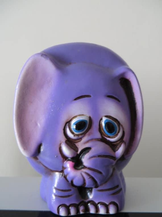 Vintage 1970 39 s ceramic purple elephant by lilgiftshopofhorrors - Ceramic elephant piggy bank ...