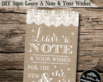"""Instant Download- 4"""" x 6"""" Printable JPEG Burlap & Lace Rustic Style DIY Wedding Guestbook Sign"""
