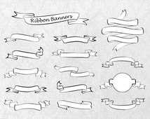 Digital Ribbon Banners Clipart, Elements for Card Design, hand drawn, PNG files, Personal and Commercial Use
