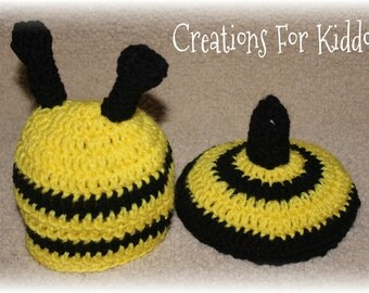 Crocheted Bumble Bee Newborn Hat and Bum Cover