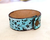 Turquoise and brown bracelet Art Nouveau leather bracelet