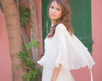 Bridal cape 100% silk  Made in France - CONSTANCE