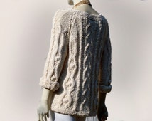 Knit Sweater, Cotton Cableknit Ecri Sweater, Handknit Lightweight Sweater with Braid Design, Woman Sweater Hand Knit, Sweater Women