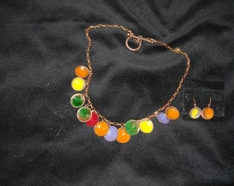 All copper, hand crafted enameled disks with earrings to match