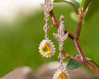 Yellow Sapphire and Diamond Halo Dangle <Prong> Solid 14K White Gold (14KW) Colored Stone Leaf Earrings *Fine Jewelry* (Free Shipping)