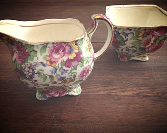 SALE! Royal Winton Summertime Creamer and Sugar Bowl Set