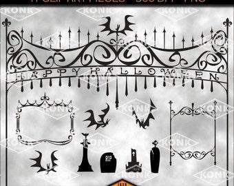 11 Digital Halloween clipart designs, Cemetery Gates, Bats, Frames, Tombstones, PNG, 300 dpi