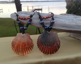 Leather pearls RED Scallop seashell necklace