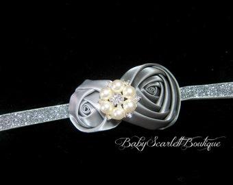 Silver Rosette Flower Baby Headband,Girl Headband