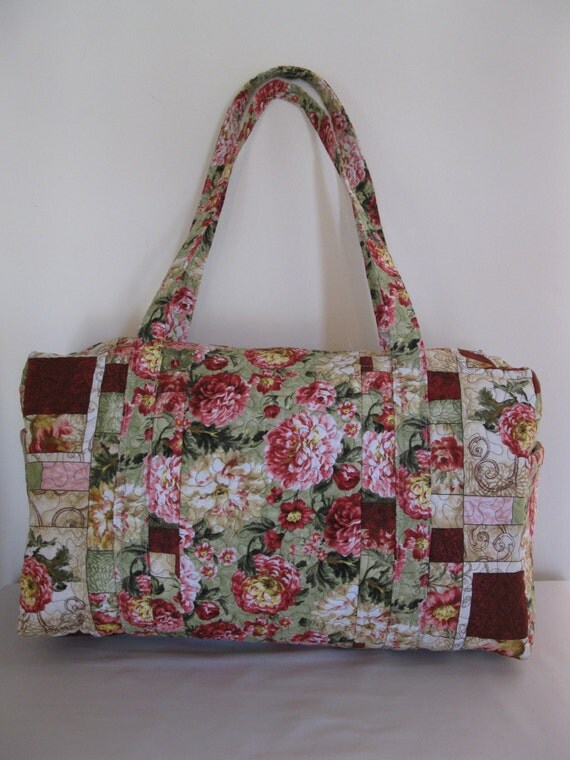 Large Quilted Fabric Duffle Bag / Floral Weekender Carry On