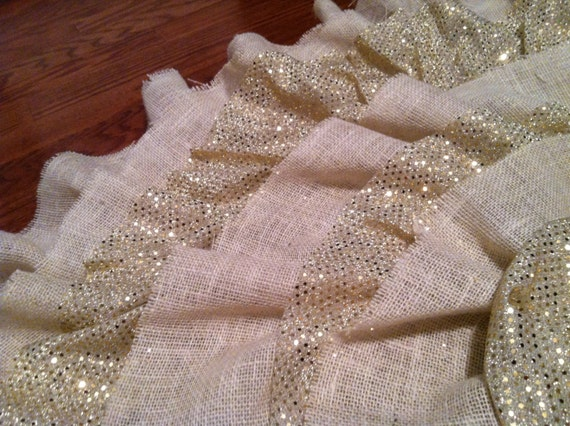 Handmade Gold Sequin and Burlap Tree Skirt