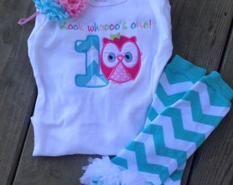 Pink and aqua chevron owl birthday outfit -1st birthday chevron owl shirt chevron leg warmers - custom personalized owl birthday shirt