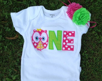 Hot pink polka dot and lime green owl birthday outfit -1st birthday polka dot owl shirt - custom personalized owl birthday shirt
