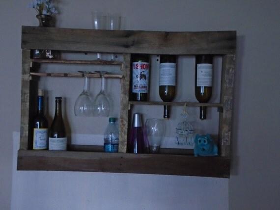 bois rustique mural support de bouteille ou un par woodartworld