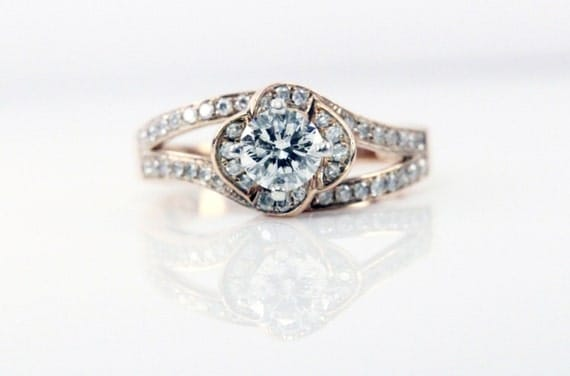 Leo Rose Gold Diamond Engagement Ring Original Price by PetraGems