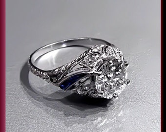 Antique Vintage Art Deco Platinum Old European Cut Diamond Engagement Ring Wedding Ring