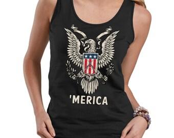 Merica America USA Flag Guns T-Shirt 4th July Tee Shirt