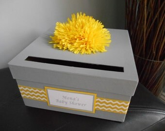 Baby Shower Custom Card Box Baptism Christening Baby Shower Keepsake Box Personalized Tag, Choose Colors Gray and Yellow Chevron Shown