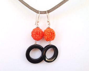 Coral earrings and black agate circle