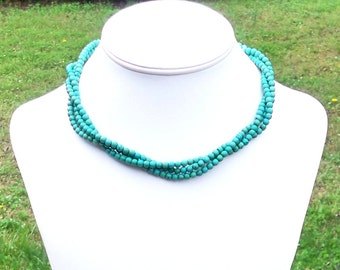 Della - Triple Strand 5mm Round Turquoise Beaded Necklace - Short, Twisted, Classic - Aqua Green Turquoise