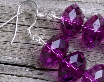 Michelle - Long Purple Faceted Rondel Beaded Silver Dangle Fish Silver Hook Earrings