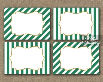 Green Labels - Green White Gift Tags - Green Gold Name Tags or Favor Tags - Green Printable Party Decorations - Striped Favor Tags - GRG