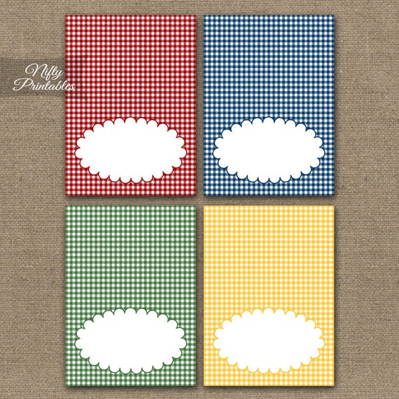 Gingham Tent Cards - Rustic Country Place Cards - Printable Country Western Food Buffet Cards - Red Blue Green Yellow BBQ Picnic Tents  sc 1 st  Etsy & Gingham Tent Cards Rustic Country Place Cards Printable
