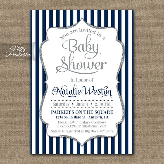Blue Baby Shower Invitations Printable Navy Blue Silver