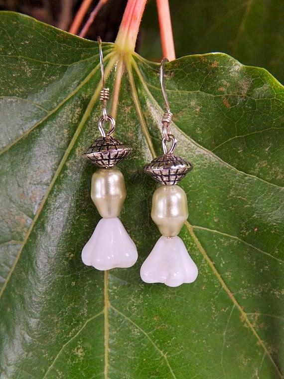 White Bell Flower Dangle Earrings
