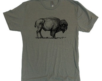 Unisex BISON BUFFALO vintage retro style Tri-Blend super soft t-shirt