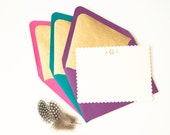 HH Signature Golden / Personalized Stationery Set Gold Lined Envelopes and Ivory Flat Cards with Gold Embossing