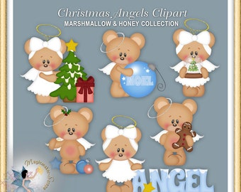 Christmas Angels Clipart, Teddy Bear, Marshmallow and Honey