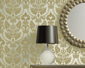 Damask stencils Joelle Wall pattern stencil instead of wallpaper DIY decor