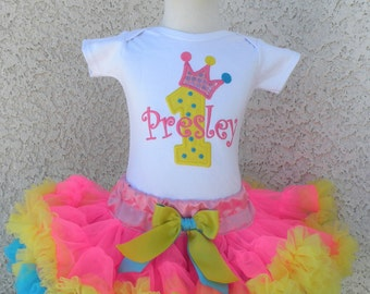 Princess Tiara Shocking Pink, Yellow and Aqua Number Pettiskirt -Personalized Birthday Pettiskirt,Sizes 6m - 14/16