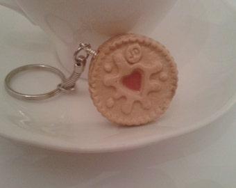 Handmade Mini Jammy Dodger Biscuit Keyring/Bagcharm