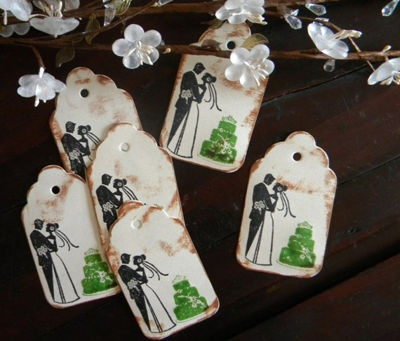 Vintage Wedding Gifts For Bride And Groom : Wedding Gift Tags, Bride and Groom Tags, Green Wedding Theme, Vintage ...