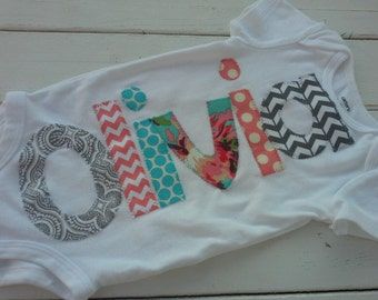 girls Personalized appliqued baby name onesie baby shower gift- coral, teal and gray applique name onesie
