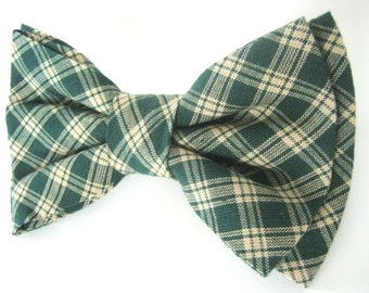 Dog Bow Tie Small Medium Large Plaid Green Bowtie