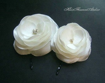 Ivory Hair Pins Ivory Hair Flowers Ivory Wedding Accessories Ivory Headpiece Gift for Bridesmaids Rhinestones  - Set of 2