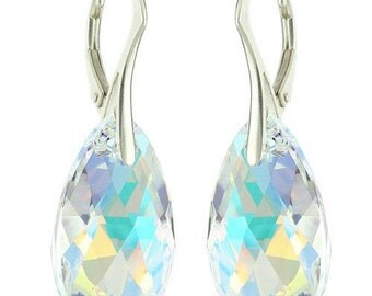 925 Sterling Silver Faceted Pear Swarovski Crystal Leverback Earrings