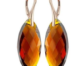 14k Rose Gold Over 925 Sterling Silver Marquise Swarovski Leverback Earrings