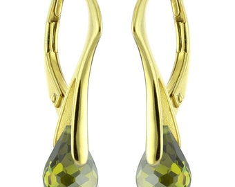 14k Gold Over 925 Sterling Silver Natural Briolette Quartz Leverback Earrings