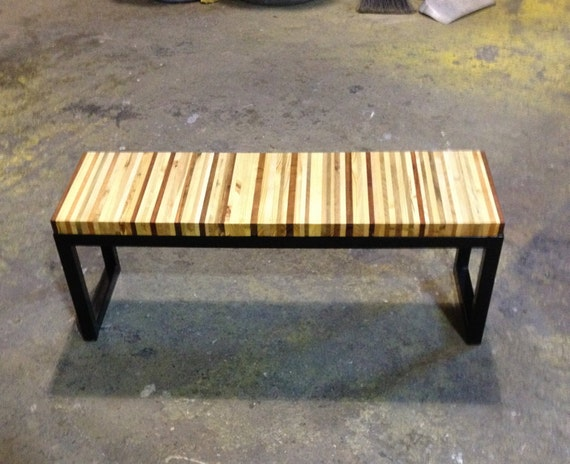Reclaimed Pallet Wood And Steel Bench Coffee Table