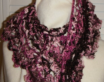 Lacy Ruffled Pink and Brown Crocheted Scarf