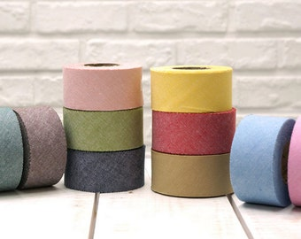 """Chambray Cotton Bias Tape 1.33"""" x 354"""" (3.4cm x 900cm), 10 yards long in 10 Solid Colors By The Roll"""