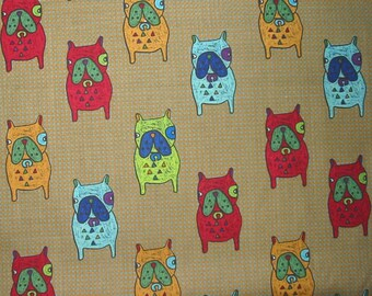 Cotton Fabric Cute Bulldog Khaki Brown By The Yard