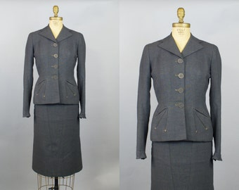 1950s Lachasse of London Fitted Gray Womens Suit / XS