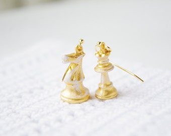 GOLDEN COLLECTION:Original antiqued raw brass chess earring, vintage style,for her,birthday gift,Christmas gift,bridesmaid gift,wedding